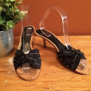 Coach Black Fabric Bow Tied Dress Sandals